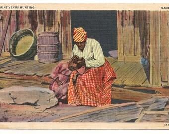 "Black Memorabilia ""Aunt Venus Hunting"" Linen Postcard - 46"