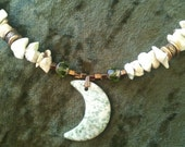 Spring Moon - Beaded Stone Moon Necklace
