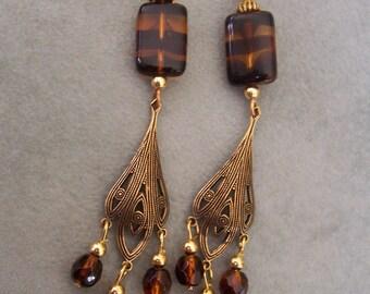 Tigress - Beaded Dangle Earrings
