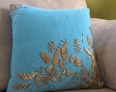 NEW LOWER PRICE- Blue and Gold Beaded Throw Pillow