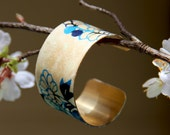 Beautiful origami paper covered thick cuff bracelet in beautiful blue colours