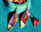 Small Japanese Fabric Organic Leaf Dangle Earrings in Bright Colors