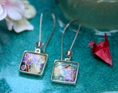Small Square Dangle Earrings with Traditional Hand Painted Origami Paper Pattern
