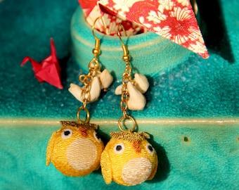 Owl Japanese Fabric and Bead Earrings