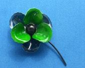 Brooch - Enameled Flower - Navy and Green - Vintage