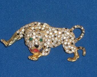Brooch - Leopard - Rhinestones - Vintage