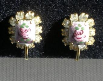 Earrings - Rose Earrings - Painted Enamel - Screw Back - Vintage