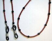 Elegant Simple Black & Brown Beaded Eyeglass Chain Lanyard Holder SRAJD
