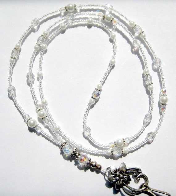 Perfect Crystal & White Pearl Beaded Lanyard ID Badge Holder SRAJD