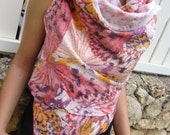 Nuno Felted Vest / Wrap with Pink Butterflies