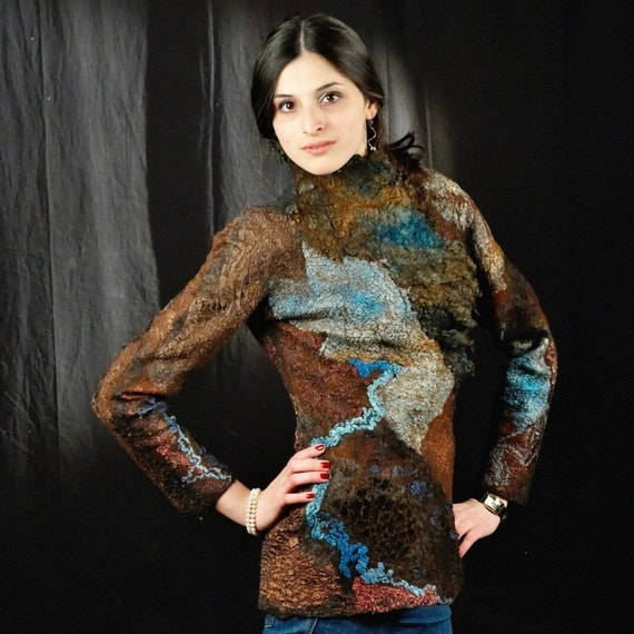 Brown&Blue Felted Jacket OOAK