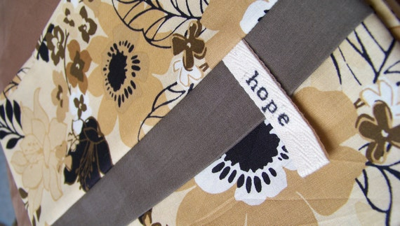 HOPE Tan with Black and White Poppy flowers SET of TWO Pillowcases-Uganda Adoption Fundraiser