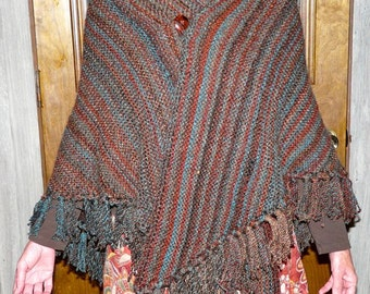 Southwestern Style Brown and Turquoise Hand-Knitted Shawl