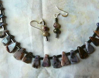 SALE!  20 Inch Purple Jasper and Hematite Necklace and Earrings