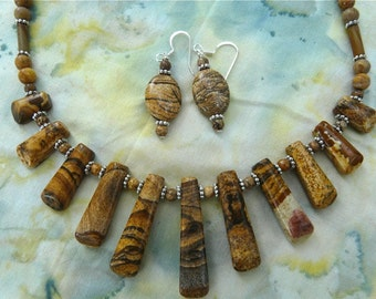 SALE!!  18 Inch Picture Jasper Stick Bead Necklace and Earrings