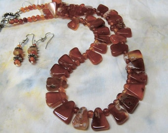 SALE!  17 Inch  Burnt Orange Carnelian Triangles Choker and Earring