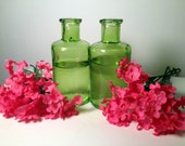 Green Glass Vase with Pink Flowers