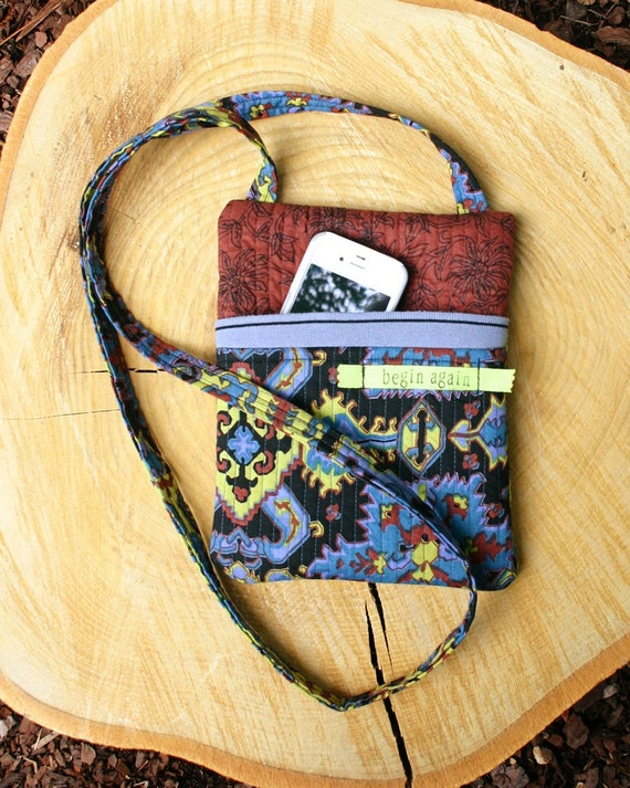 Crossbody Bag, Shoulder Bag, Sling Bag, Hipster Bag, Kindle/Nook, Celadon Blue Zipper