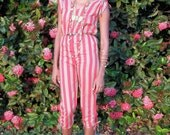 80s  Drawstring Jumpsuit With Bold Awning Stripes