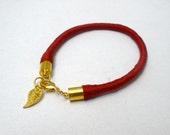 Burgundy Wrapped Bracelet with Gold Leaf Charm