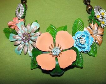 Sale Was 139.99 Handmade Vintage Victorian Enamel Peach Blossom Flower Garden Bib Necklace Pendant