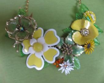 Sale Was 139.99 Handmade Vintage Victorian Enamel Flowered Lemon Lime Bouquet Garden Bib Necklace Pendant