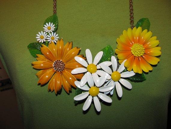 Sale Was 139.99 Handmade Vintage Victorian Enamel Spring Time Blossom Flower Garden Bib Necklace Pendant