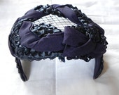 Vintage Black and Navy Blue Hat