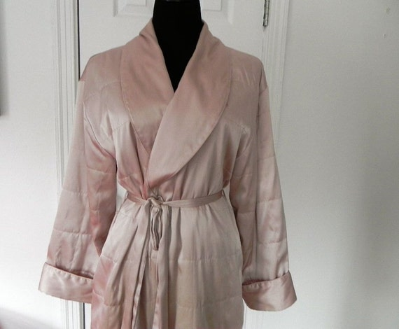 Vintage Quilted Long Peach Robe- Size Small-Medium