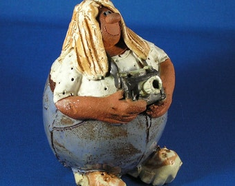Clay Sculpture Happy Photographer Signed