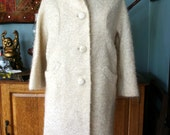 Swinging '60s Winter White Vintage Mohair Wool Coat with Satin Lining, Perfect Condition, Sm/Med