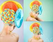 Colorful Disco Braided Headdress Headpiece burning man festival clown burlesque draq queen fairy unicorn