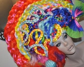 MADE TO ORDER Avant Garde Colorful Headdress Over The Top clown fantasy costume burlesque mad hatter rainbow unicorn fairy gypsy burning man