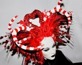 MADE TO ORDER Queen of hearts Avant garde red and white hand painted deer antler and headdress headpiece wig