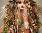 Mother Nature Headdress Headpeice show girl wig avant garde feathers mermaid fairy fae costume