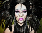 MADE TO ORDER headdress raven bird wig noir feathers chain studs