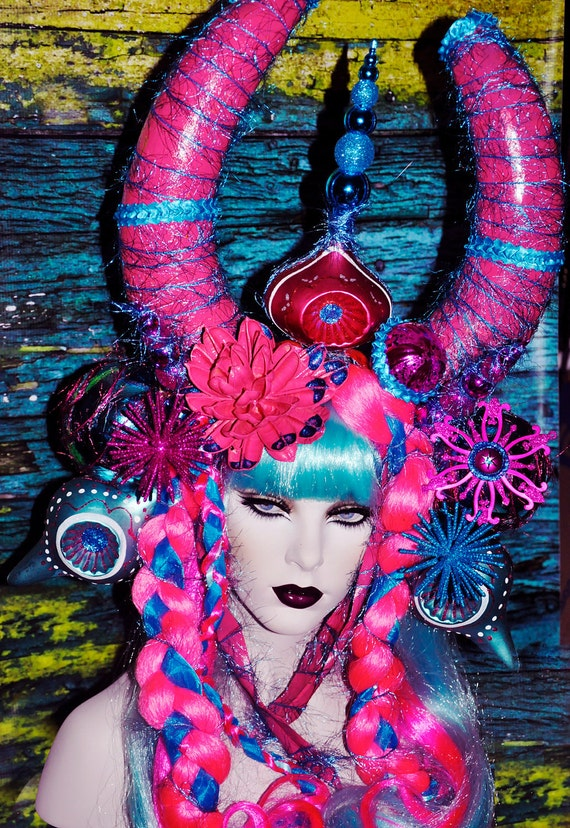 READY TO SHIP Cosplay Magic Headdress Headpice Wig Clown Cosplay lolita Candy Cotton candy mad hatter horns antler