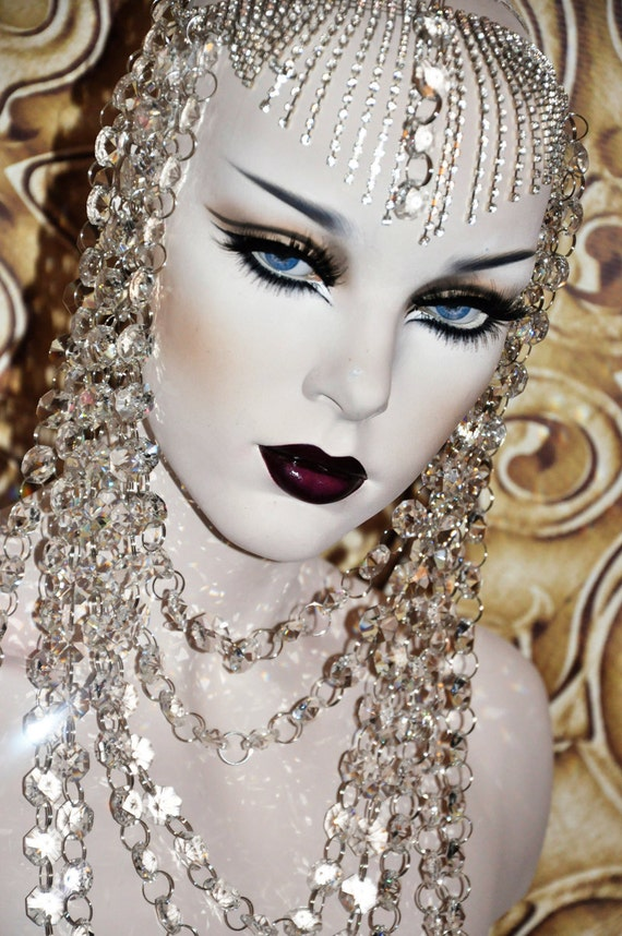 Genuine Crystal Goddess Queen Empress Princess Chandalier headdress headpiece wedding jewelry fantasy drap layered chain