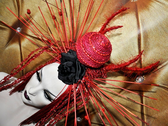 SALE Sci- Fi Cyber Futuristic gaga Red black rose stone fringe goth vampire burning man lolita wearable art Fantasy headdress headpeice wig