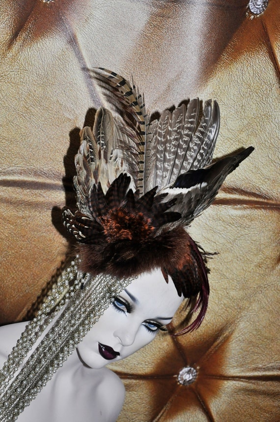 Stunning Artistic Bird Wing Burgundy browns beaded gothic tribal gypsy drape coque headdress headpeice wig