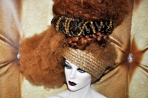 Art Wig Drag Burlesque Fantasy Synthetic hair weave afro woven braid brown highlights headdress headpiece