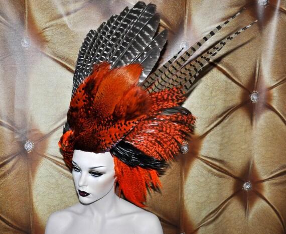 SALE Stunning Artistic Bird whole saddle Wing Orange black brown beaded gothic tribal gypsy drape coque headdress headpeice wig