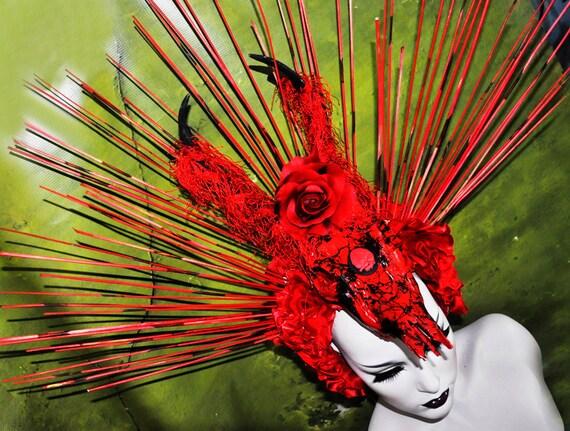 SALE Sci- Fi Cyber Futuristic gaga Red black rose stone fringe goth vampire burning man lolita wearable art Fantasy headdress headpeice wig