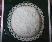 Vintage Crossed Tulips Candlewicking Lacy Doll Pillow or Pin Cushion Kit