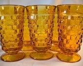 Vintage Amber glass Drinking / Iced tea glasses set