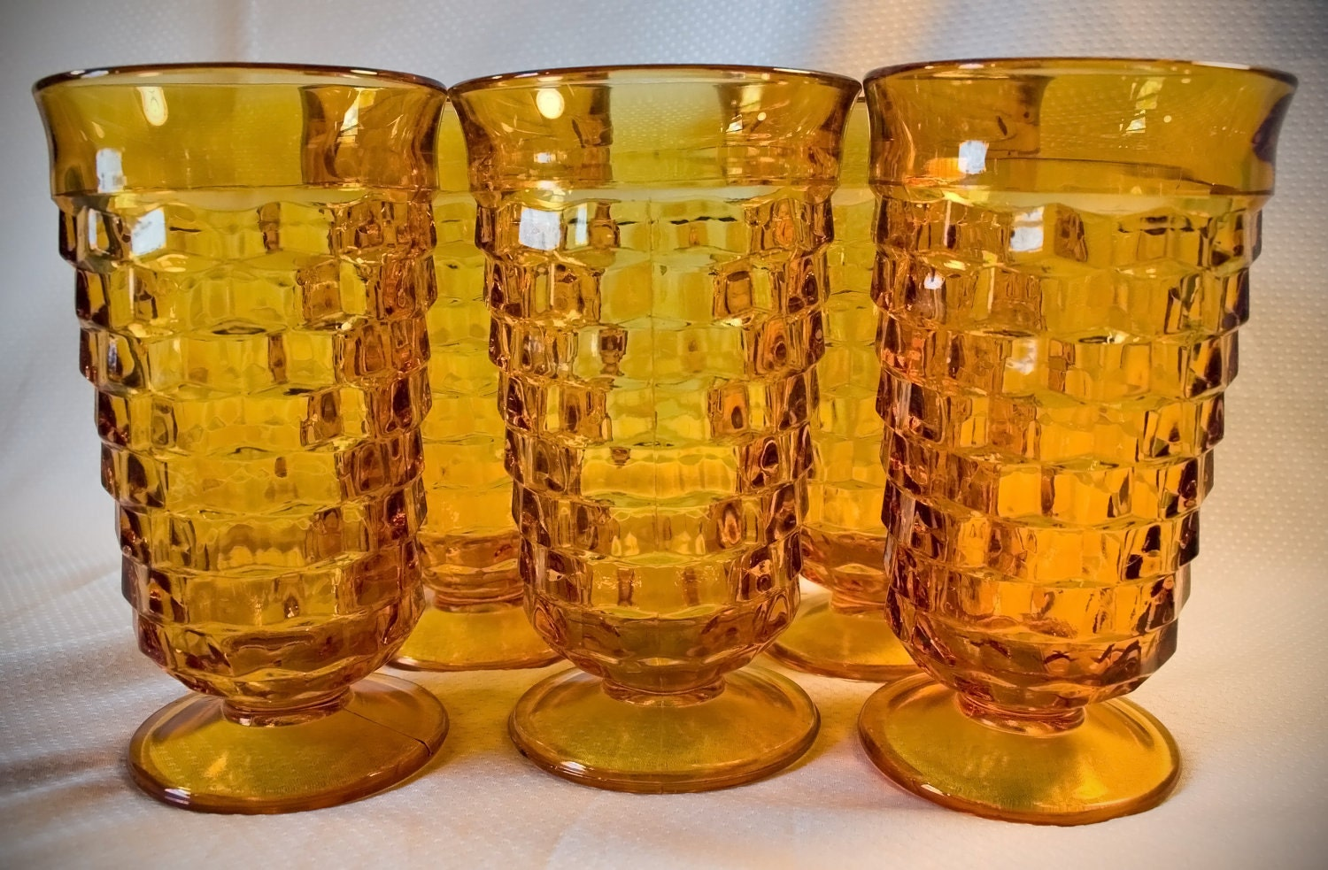 Red Kitchen Canisters Vintage Amber Glass Drinking Iced Tea Glasses Set