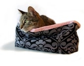 """Classic Black & Pink Pet Bed 12-14"""" Square Slip-proof Base Faux Fur Dog Cat Couture Artistic Travel Collapsible Washable Drawstring Bag"""