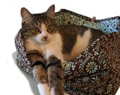 Aqua & Brown Pet Bed 12 In Floral Square Slip-proof Waterproof Base Dog Cat Couture Artistic Travel Collapsible Washable Drawstring Bag