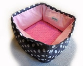 Polka Dot Pet Bed Small 12 Inch Square Dog Cat Couture Artistic Travel Collapsible Washable