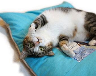 Small Duvet Pet Bed Cover Standard/Queen Size Envelope Closure Slip-proof Base Quilt Block Dog Cat Couture Artistic Travel